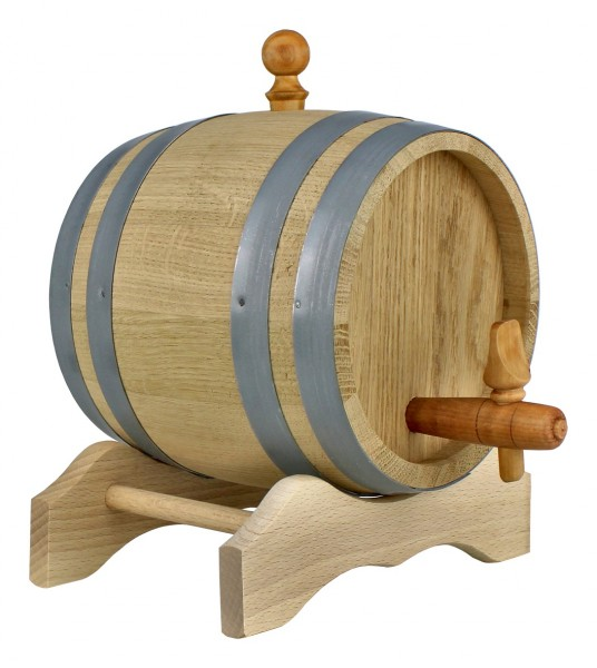 Holzfass mit Ständer 2 Liter, Eichenholzfass im Set mit Zubehör, Originelle Geschenkidee