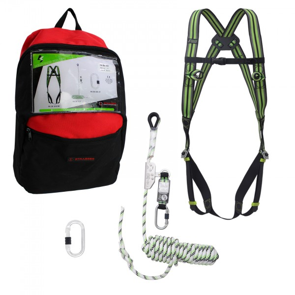 Kratos Fall Arrest Kit with body harness, fall arrester 10 m, steel karabiner, backpack, PPE