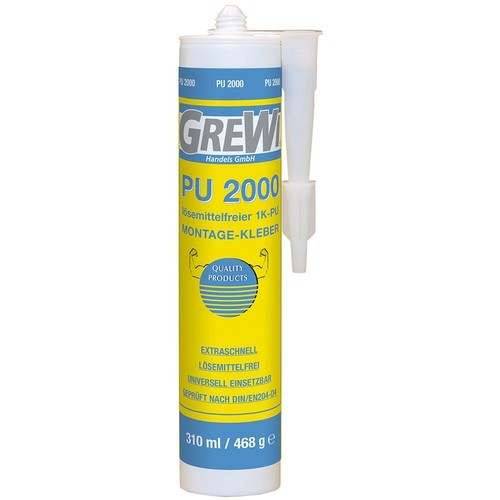 Grewi PU 2000 1-component PU assembly adhesive, solvent-free, particularly fast reaction time, 310 ml cartridge