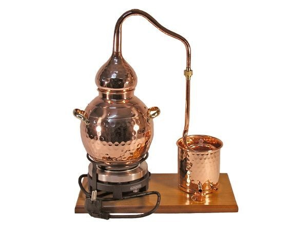CopperGarden still Alembik 2 litres, distilling set, hand-forged from copper with electric hotplate