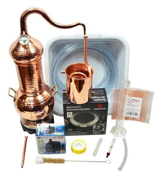 CopperGarden Destille Essence Plus Set, 2 Liter, meldefrei, handgeschmiedet aus Kupfer, Kolonnenbrennerei im Sorgenfrei Paket mit komplettem Zubehör