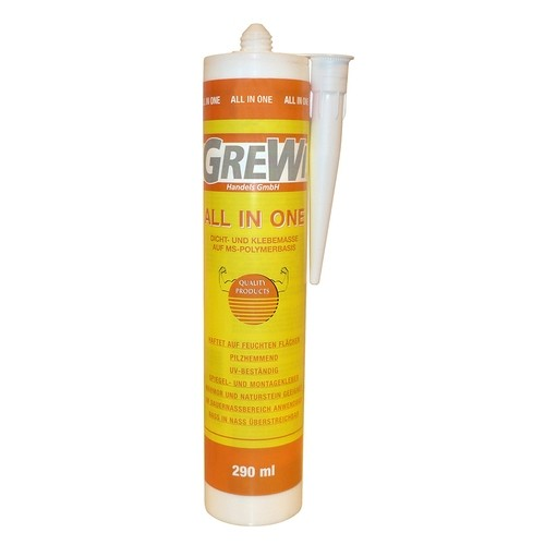 Grewi All in one adhesive and sealing compound for wet areas, 290 ml cartridge, various colours