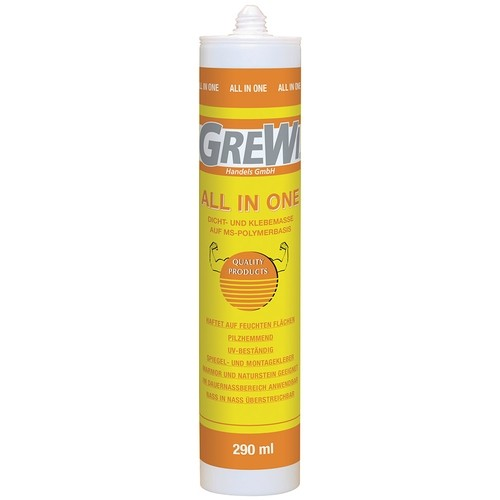 Grewi All in one adhesive and sealant for wet areas, sprayable, 290 ml cartridge, grey