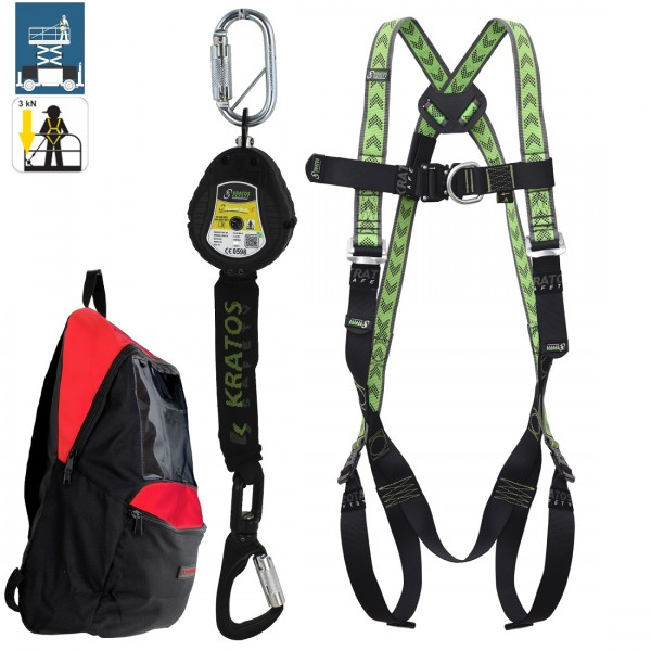 Kratos Working platforms Safety Kit, body harness, Olympe-S webbing, fall arrester, backpack, PPE